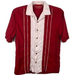 Caribbean R&Y Hawaiian Shirt Silk Red White Mens M